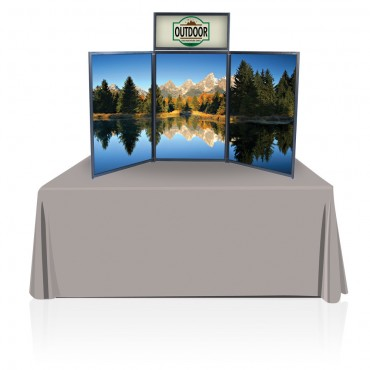 Tabletop Panel Display 6ft w/Graphics (Black/Gray)